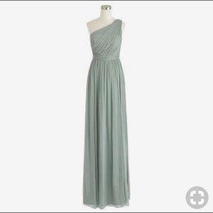 J Crew, floor-length, one-shoulder chiffon dress
